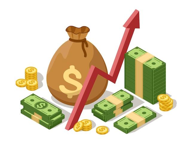 금화와 달러 지폐가 있는 돈 투자 개념 아이소메트릭 성장 그래프 현금 가방