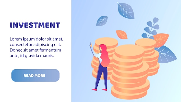 Money investment flat landing page vector template