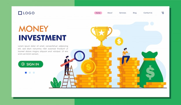 Money investment landing page website  illustration