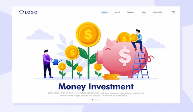 Money investment landing page website illustration