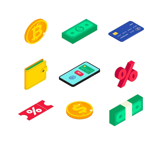 Money isometric icons set. 3d gold coin with dollar
