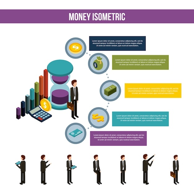 Money isometric infographic business man steps financial icons