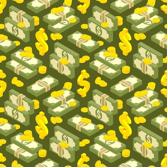 Money isometric seamless pattern