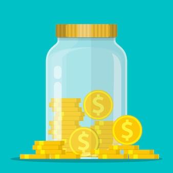 Money jar. saving dollar coin in jar.