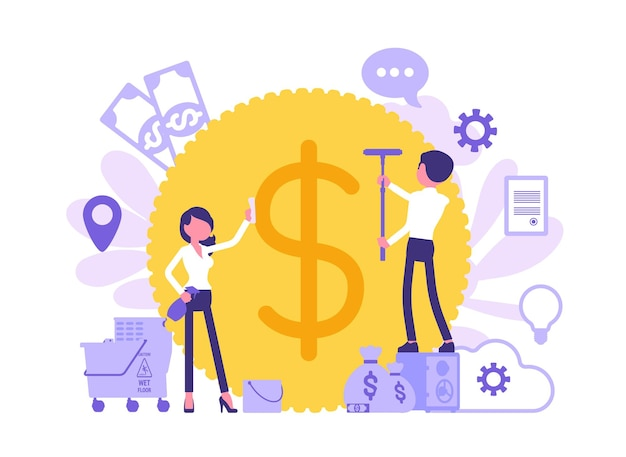Money laundering criminal business activity. man and woman concealing the origins of profit, washing giant coin with cleaning equipment to make it legitimate. vector illustration, faceless characters
