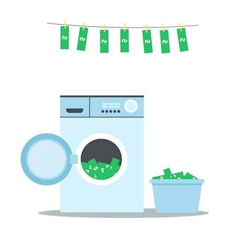Отмывание денег - зеленые долларовые банкноты в стиральной машине и корзине для белья, висящие, чтобы высохнуть на воздухе