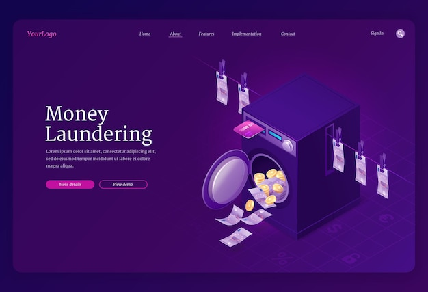 Money laundering isometric landing page template