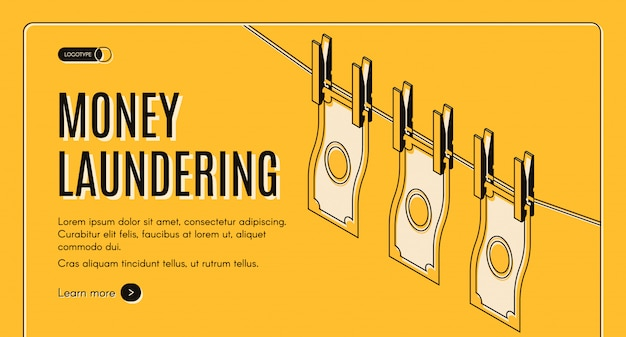Money laundering machinations isometric vector web banner or landing page template.
