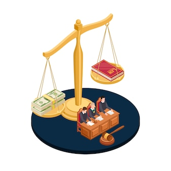 Money or law vector illustration. corrupt practices isometric concept
