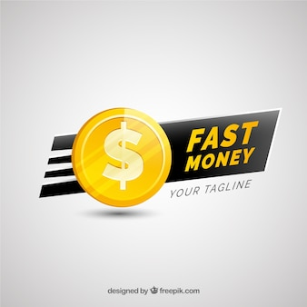 Money logo for company in golden color