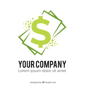 Money logo template with bills