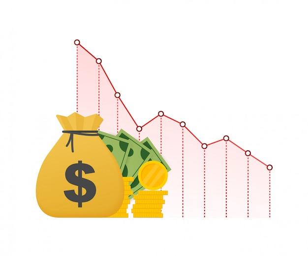 Потеря денег. наличные с графиком запасов стрелка вниз, концепция финансового кризиса, падение рынка, банкротство. иллюстрация запаса.