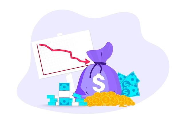 お金の損失。下降曲線または矢印の付いたお金とコインの袋。コスト削減、コスト最適化ビジネスコンセプト。下矢印付きの現金、下向きの現金資金、損失統計。世界的な金融危機