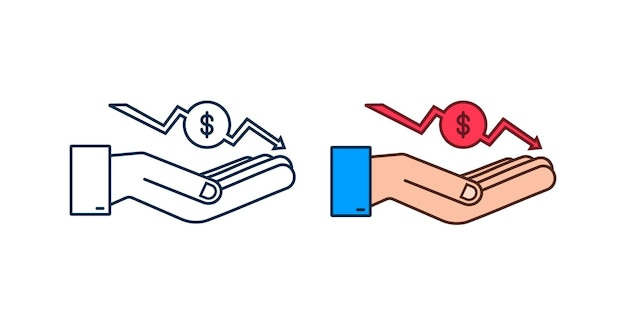 Money loss sign in hands cash with down arrow stocks graph concept of financial crisis