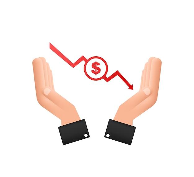 金銭的損失のサインイン手現金下向き矢印株式グラフ金融危機の概念