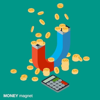 Money magnet flat isometric vector concept