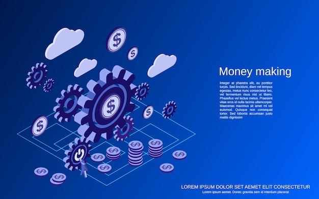 金儲けフラット3d等角ベクトルの概念図