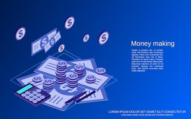 金儲けフラット3dアイソメトリックベクトルの概念図