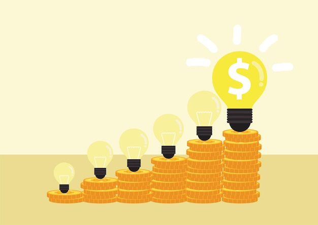 Money making idea. light bulb with heap of coins stairs for financial plan or business.