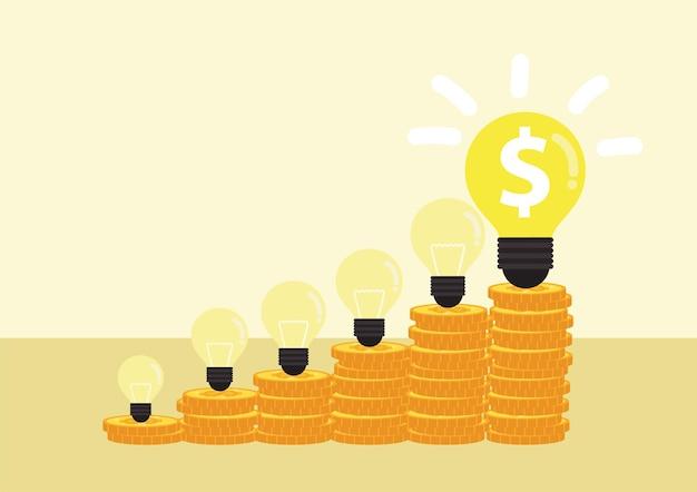 Идея зарабатывания денег. лампочка с кучей лестниц монет для финансового плана или бизнеса.
