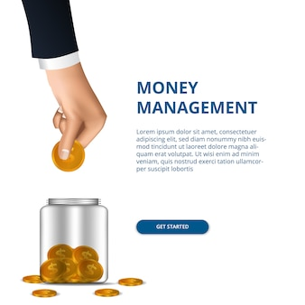 Money management concept with hand put in golden money to jar