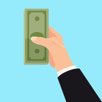 사업가 손 빌 은행 메모에 돈
