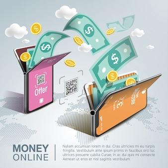 Money online on mobile phone