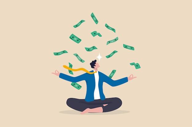 돈이나 재정적 사고방식, 성장 수익에 대한 야망, 성공 투자, 저축 또는 비즈니스 개념을 성장시키는 태도, 떨어지는 돈 지폐 수입으로 명상하는 차분한 사업가