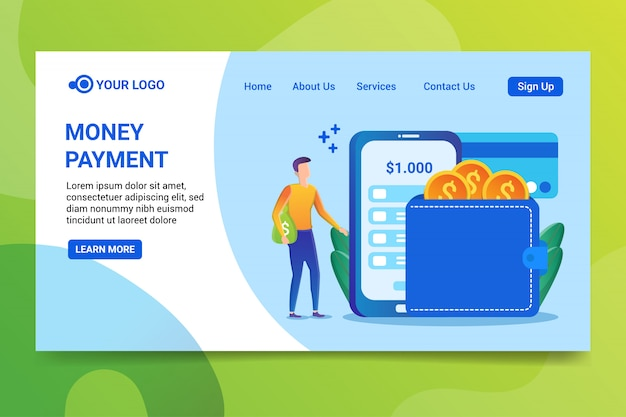 Money payment landing page