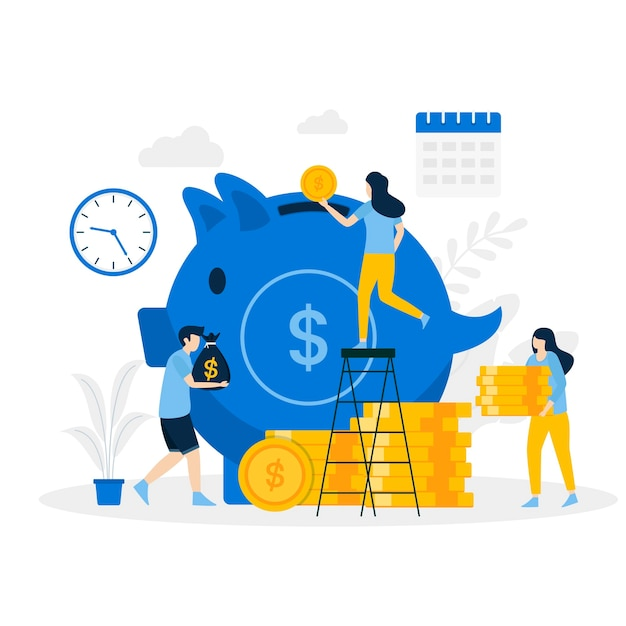 Money pig saving illustration landing page