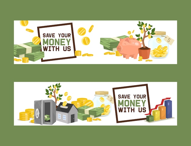 Money   piggy bank pig box financial bank or money-box with investment savings and coins set banner
