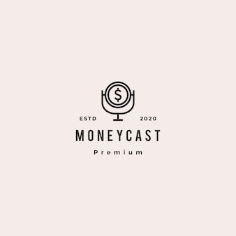 Money podcast logo hipster retro vintage icon for monetize blog video vlog tutorial channel radio broadcast