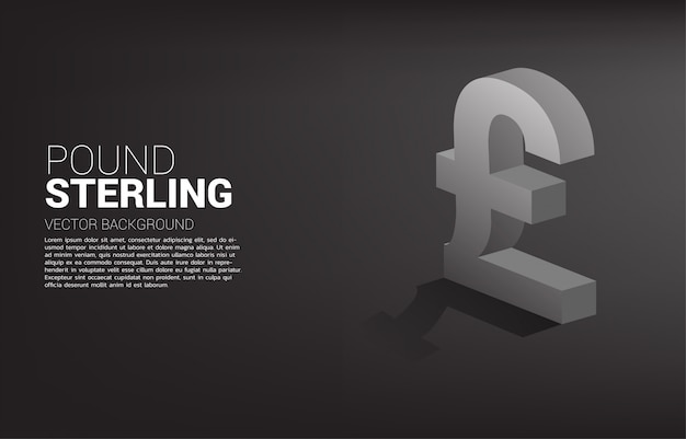 Money pound sterling currency icon 3d with shadow.