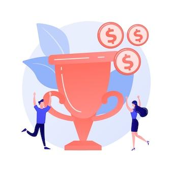 Money prize, trophy, deserved reward. team success, championship, high achievement. monetary award recipients, winners cartoon characters