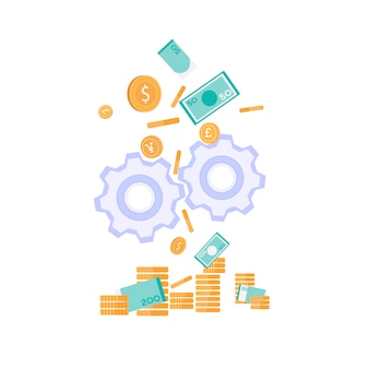 Money production investment metaphor flat banner
