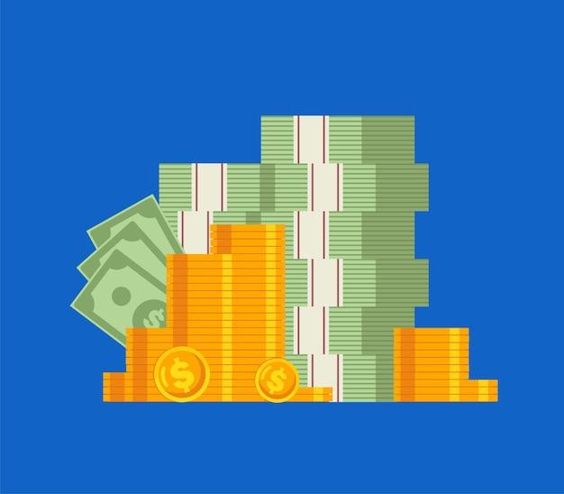 돈 이익 및 수입 개념 평면 벡터 일러스트 배너 및 방문 페이지