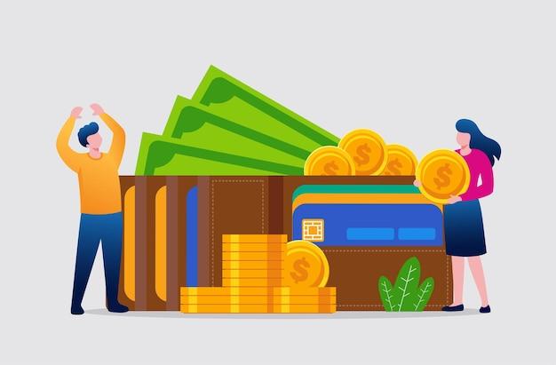 お金の利益と財布の概念フラットベクトルイラストバナーとランディングページ