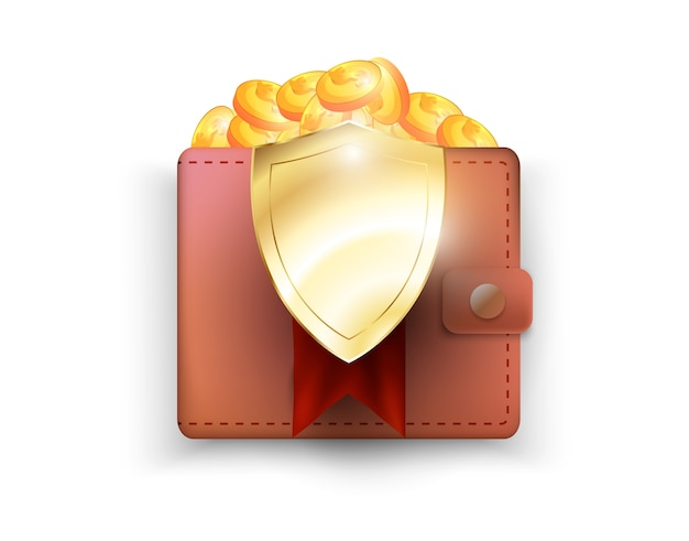 Защита денег, щит визуализируют защиту кошелька. финансовая безопасность.