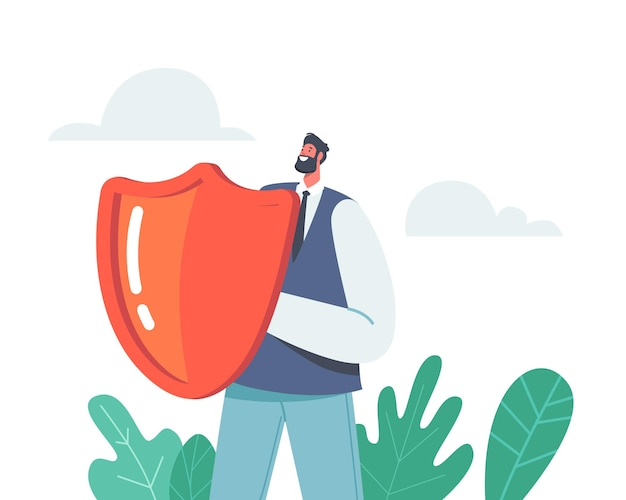 Money protection and finance defence concept. businessman character holding red shield. financial insurance and fund safety, bank deposit assurance concept. cartoon people vector illustration