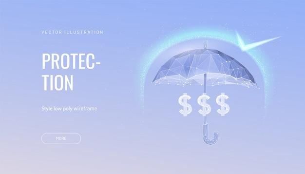 Деньги защиты футуристическая концепция иллюстрации. светящийся многоугольный зонт, щит над деньгами на синем фоне