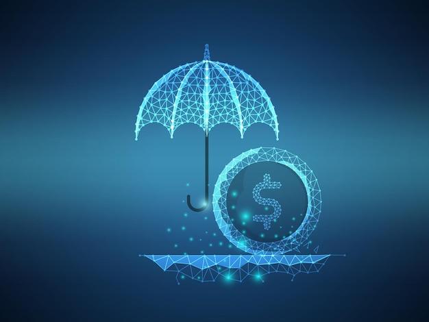 傘の未来的な技術によるお金の保護低ポリゴンワイヤーメッシュ背景ベクトル図