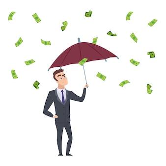 お金の雨。現金の下で傘を持つビジネスマン。投資利益、成功したビジネスベクトルイラスト。お金の雨、緑の紙幣で成功した金融を持つビジネスマン
