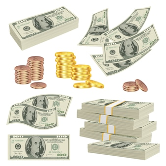 Деньги реалистичны. инвестиционные наличные доллары банкноты бумага золото финансы продукт деньги картинки. доллар наличными и банкноты, иллюстрация денег успеха