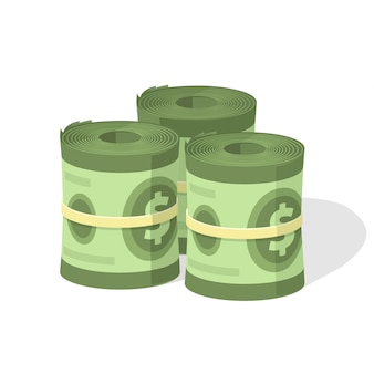 Money roll pile or cash stack heap and bundle with rubber flat cartoon illustration