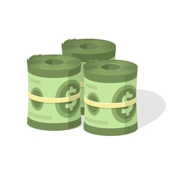 Куча рулона денег или куча наличных денег и пачка с резиновой плоской иллюстрации шаржа