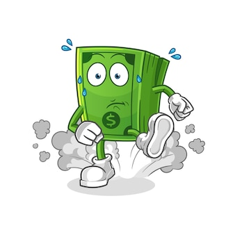 Money running illustration. character