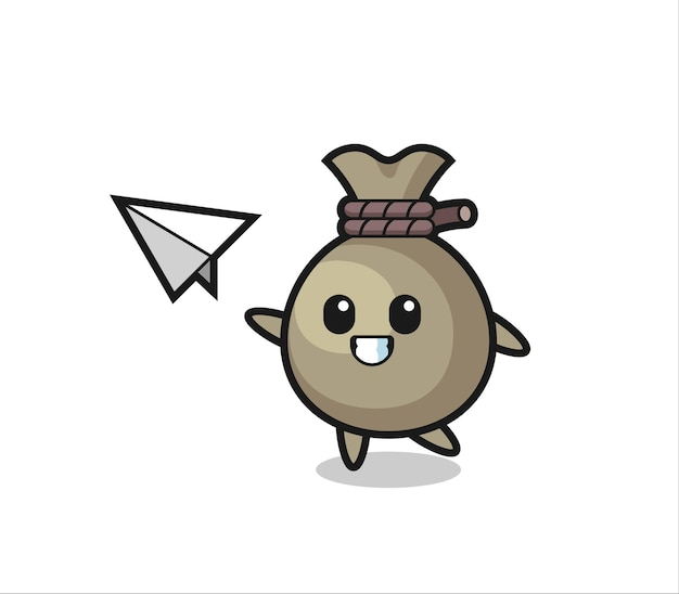 Money sack cartoon character throwing paper airplane , cute style design for t shirt, sticker, logo element