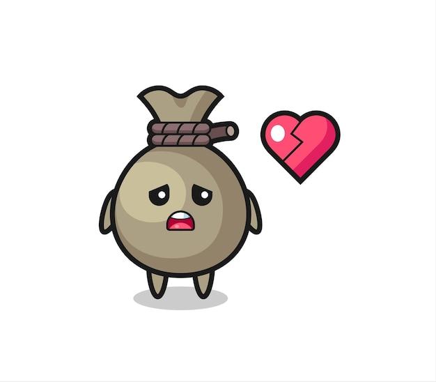 Денежный мешок мультфильм иллюстрация разбитое сердце, милый стиль дизайна для футболки, стикер, элемент логотипа