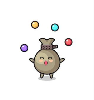The money sack circus cartoon juggling a ball , cute style design for t shirt, sticker, logo element