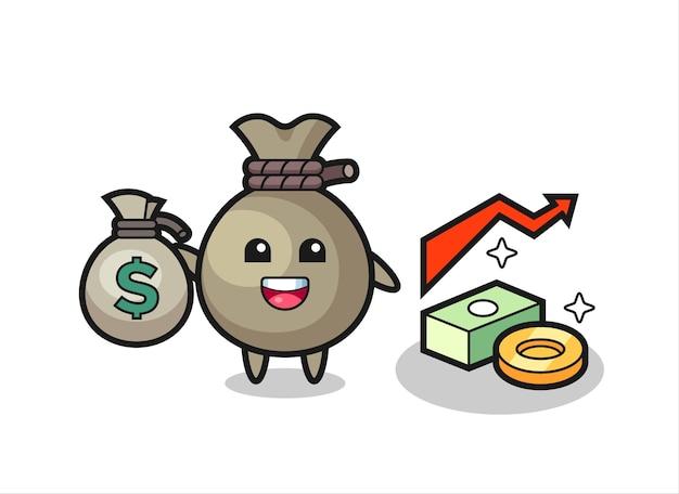 돈 자루 그림 만화 돈 자루를 들고, 티셔츠, 스티커, 로고 요소에 대한 귀여운 스타일 디자인